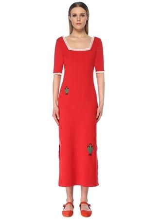Faraway Kadın Kırmızı Kare Yaka Nakışlı Midi Triko Elbise S EU female
