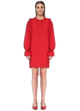 Faraway Kadın Kırmızı Fırfırlı Balon Kol Mini Elbise 34 EU female