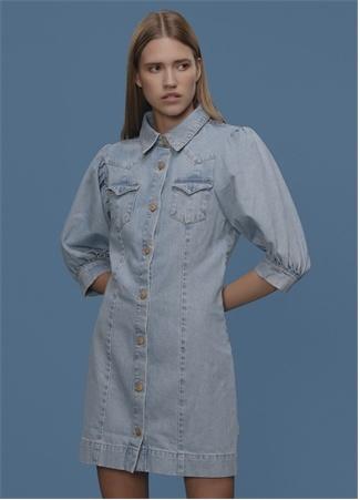 Faraway Kadın Logo Düğmeli Balon Kol Mini Jean Elbise Mavi 34 EU
