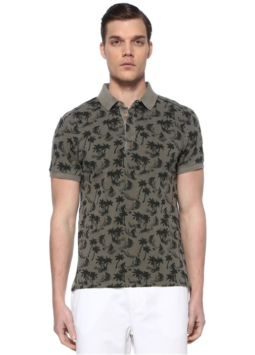 Slim Fit Haki Polo Yaka Tropikal Desenli T-shirt