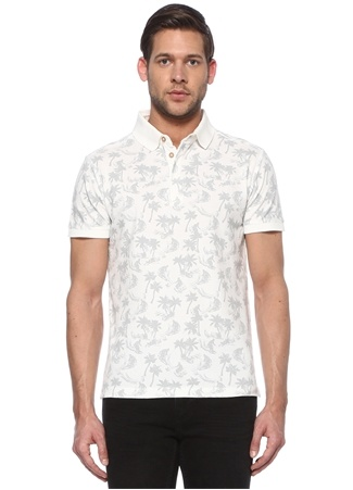 Beymen Club Erkek Slim Fit Beyaz Polo Yaka Tropik Desenli T-shirt L male