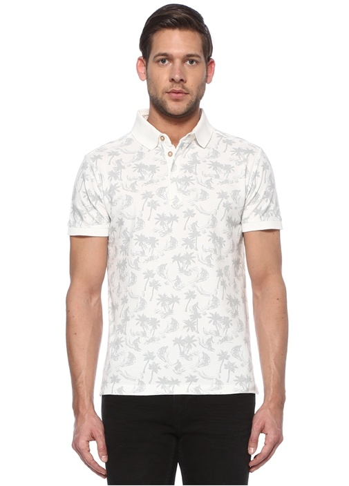 Slim Fit Beyaz Polo Yaka Tropik Desenli T-shirt