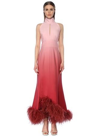 6Arlington Kadın Davis Pembe Degrade Tüylü Maksi Abiye Elbise 8 US 16Arlington female