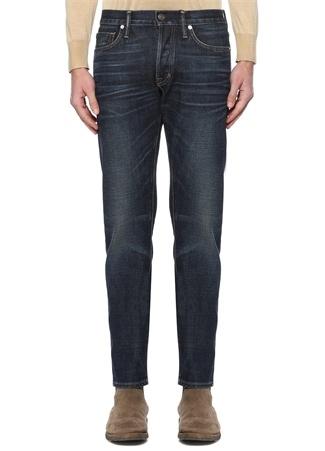 Tom Ford Erkek Slim Fit Lacivert Kontrast Dikişli Jean Pantolon 3 US male 31