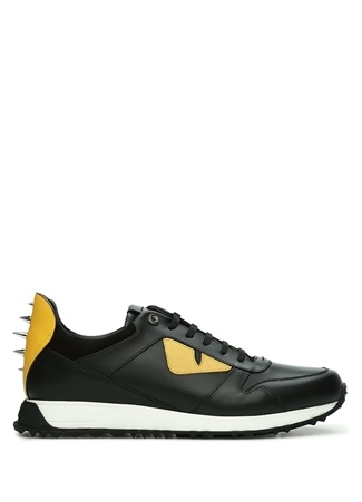Fendi Erkek Siyah Canavar Göz Detaylı Deri Sneaker 7 US male