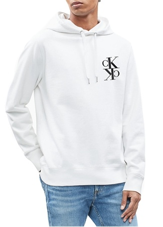 CK Jeans Erkek Monogram Beyaz Kapüşonlu Logo Baskılı Sweatshirt Siyah XXL EU male