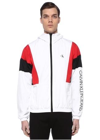 CK Jeans Erkek Colorblocked Kapüşonlu Logolu Mont Siyah EU male