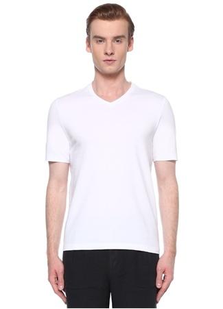 Alpha Studio Erkek Beyaz V Yaka Basic T-shirt 58 IT male