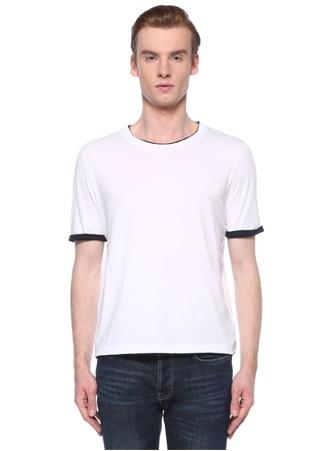 Alpha Studio Erkek Beyaz Kontrast Renk Detaylı Basic T-shirt 56 IT male