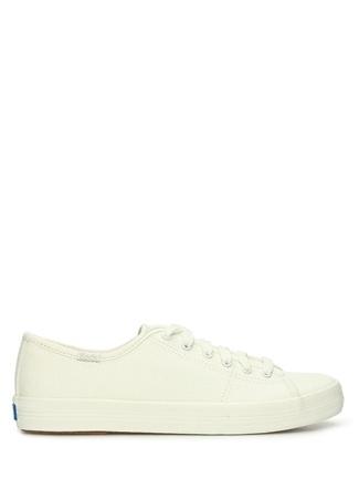 KEDS Kadın Beyaz Parlak Dokulu Kanvas Sneaker Bej 39 EU female