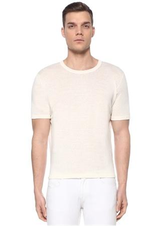 Alfredo Erkek Ekru Baskı Detaylı T-shirt Beyaz M EU male