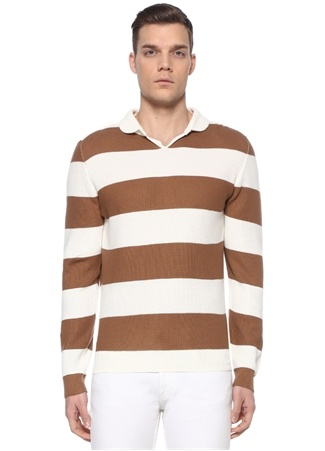 Alfredo Erkek Kahverengi Beyaz Çizgili Triko Bej M EU male