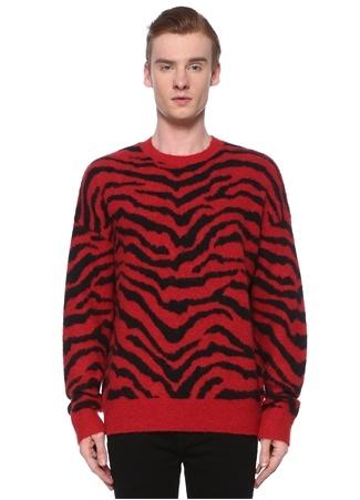 Allsaints Erkek Tigre Kırmızı Siyah Kaplan Desenli Yün Kazak M EU male