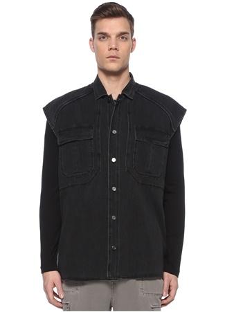 Juun.J Erkek Antrasit İngiliz Yaka Denim Gömlek Siyah 46 IT male