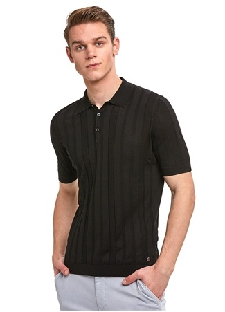 Hemington Erkek Siyah Şeritli Polo Yaka İpek T-shirt L EU male