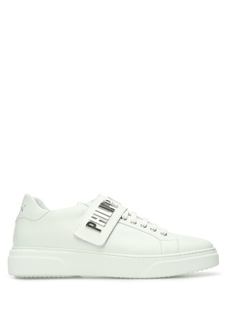 Philipp Plein Erkek Beyaz Logolu Cırt Bantlı Deri Sneaker 43 EU male