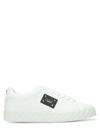 Philipp Plein Erkek Beyaz Tabanı Verev Çizgili Deri Sneaker 43 EU male