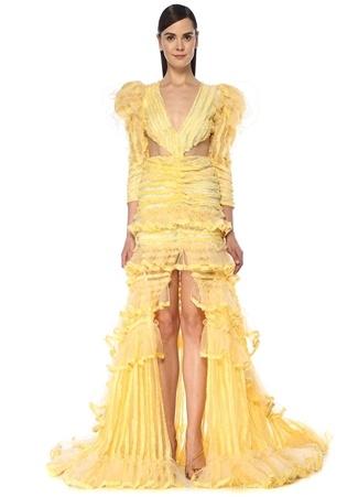 RAISA VANESSA Kadın Sarı Yaka Kesim Detaylı Maksi Abiye Elbise 36 EU female