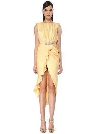 RAISA VANESSA Kadın Sarı Taşlı Drapeli Midi İpek Saten Kokteyl Elbise 34 EU female
