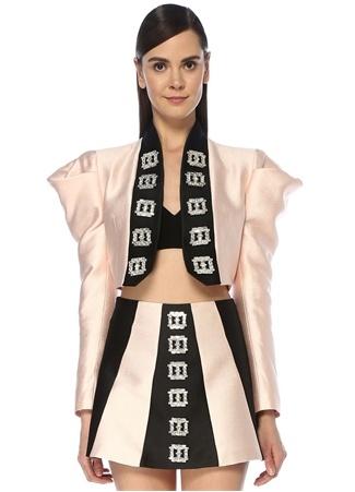 RAISA VANESSA Kadın Altın Rengi Siyah Taş Tokalı Karpuz Kol Crop Ceket Pembe 36 EU female