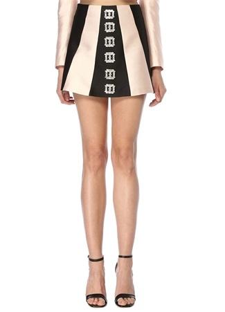 RAISA VANESSA Kadın Altın Rengi Siyah Yüksek Bel Taş Tokalı Mini Etek Pembe 38 EU female