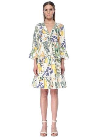 La Doublej Kadın Jennifer Jane Beyaz Botanik Desenli Mini Elbise S EU female