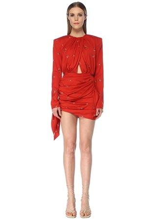 Magda Butrym Kadın San Remo Kırmızı Çiçekli Drapeli Mini İpek Elbise 36 FR