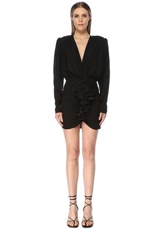 Magda Butrym Kadın Burgos Siyah V Yaka Drapeli Mini İpek Elbise 34 FR