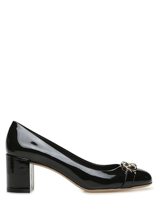 SALVATORE FERRAGAMO Kadın Garda Siyah Logo Tokalı Deri Topuklu Ayakkabı 9.5 US female