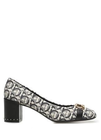 SALVATORE FERRAGAMO Kadın Garda Bej Siyah Desen Jakarlı Topuklu Ayakkabı 7 US female