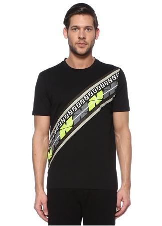Fendi Erkek Siyah Şerit Logolu Neon Renk Detaylı Basic T-shirt EU male
