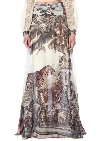 Patbo Kadın Yüksek Bel Desenli Tokalı Maksi Etek Beyaz 4 US female