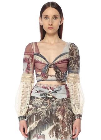 Patbo Kadın Desenli File Garnili Bağcıklı Crop Bluz Beyaz 4 US female