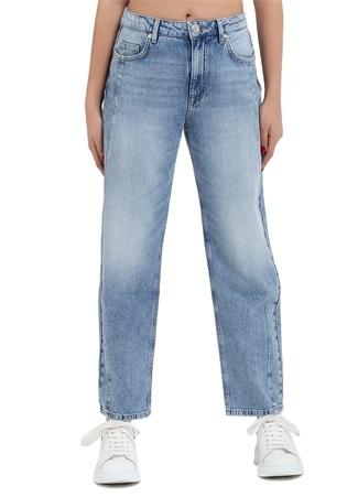 Deep Six Jeans Kadın Regular Fit Mavi Pens Detaylı Mom Pantolon 26 US female