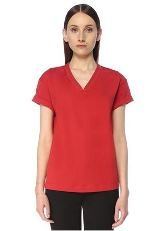 Brunello Cucinelli Kadın Kırmızı V Yaka Zincir Şerit Detaylı T-shirt L EU female