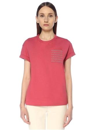 Brunello Cucinelli Kadın Pembe Zincir Şeritli Cep Detaylı T-shirt M EU female