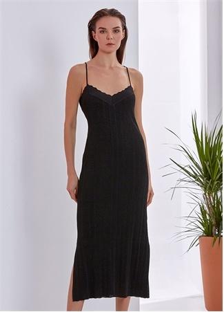Knitss Kadın Christina Siyah İnce Askılı Midi Triko Elbise L EU