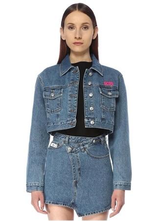 Gcds Kadın Bucket Cut Crop Jean Ceket Mavi S EU female