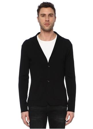 Network Erkek Slim Fit Siyah Triko Ceket EU male