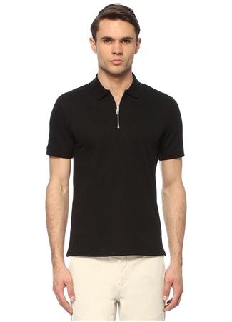 Network Erkek Slim Fit Siyah Polo Yaka Desenli T-shirt EU male