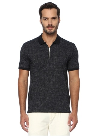 Network Erkek Slim Fit Lacivert Polo Yaka Desenli T-shirt EU male