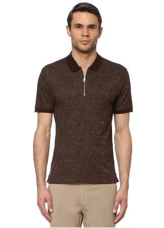Network Erkek Slim Fit Kahverengi Polo Yaka Desenli T-shirt EU male