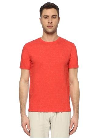 Network Erkek Slim Fit Nar Çiçeği Desenli T-shirt Kırmızı EU male