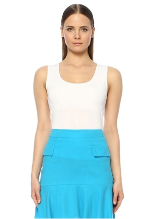 Network Kadın Slim Fit Beyaz Kolsuz T-shirt M EU female