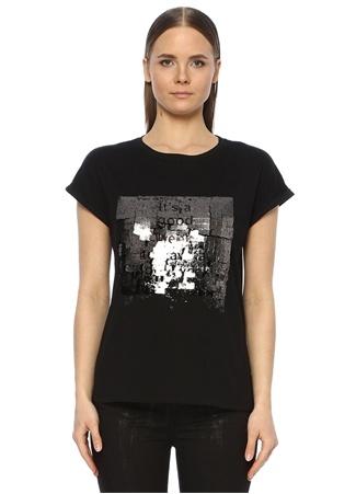 Network Kadın Siyah Varak Baskılı Basic T-shirt XS EU female