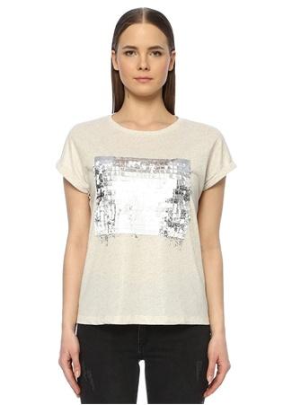 Network Kadın Ekru Varak Baskılı Basic T-shirt Bej S EU female