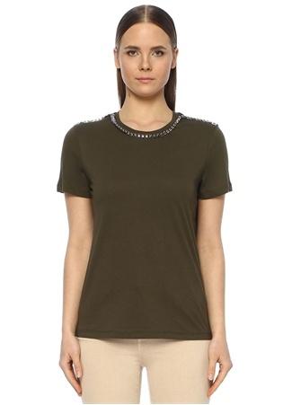 Network Kadın Haki Yakası İşlemeli Basic T-shirt XS EU female