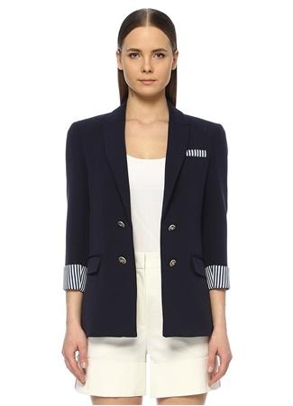 Network Kadın Regular Fit Lacivert Çizgili Astarlı Ceket 36 EU female