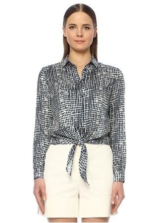 Network Kadın Regular Fit Lacivert Desenli Bağcıklı Gömlek S EU female