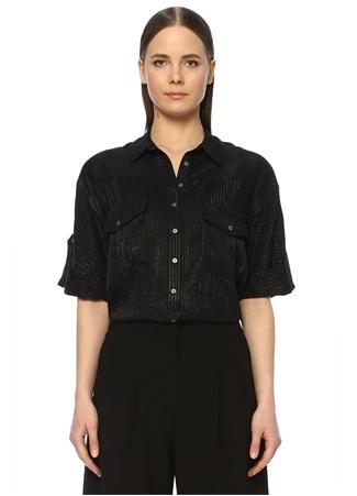 Network Kadın Regular Fit Siyah Çizgili Kısa Kol Gömlek EU female